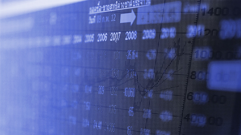 Close up of blue screen showcasing transaction data.