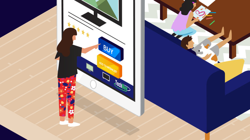Woman about to click the buy now button on a giant mobile phone.