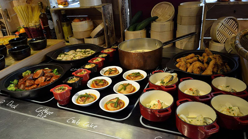 buffet of foods